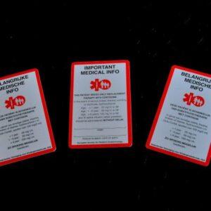 SOS kaarten voor kinderen – creditcard afmeting – Ned./Engels, per 5 stuks.