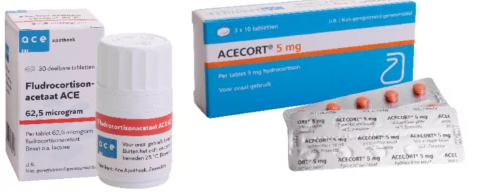 Hydrocortison en Fludrocortison zijn leverbaar.