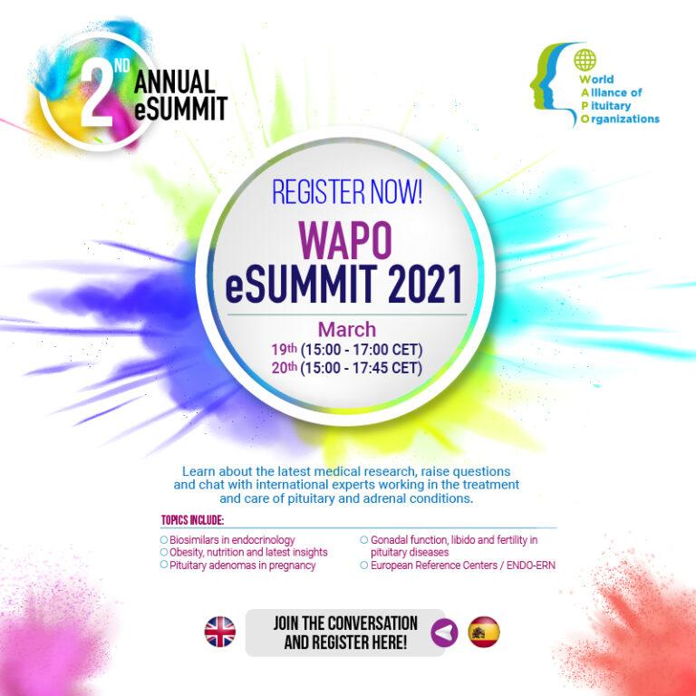 eSummit WAPO (World Alliance of Pituitary Organisations) op 19-03-2021 en 20-03-2021